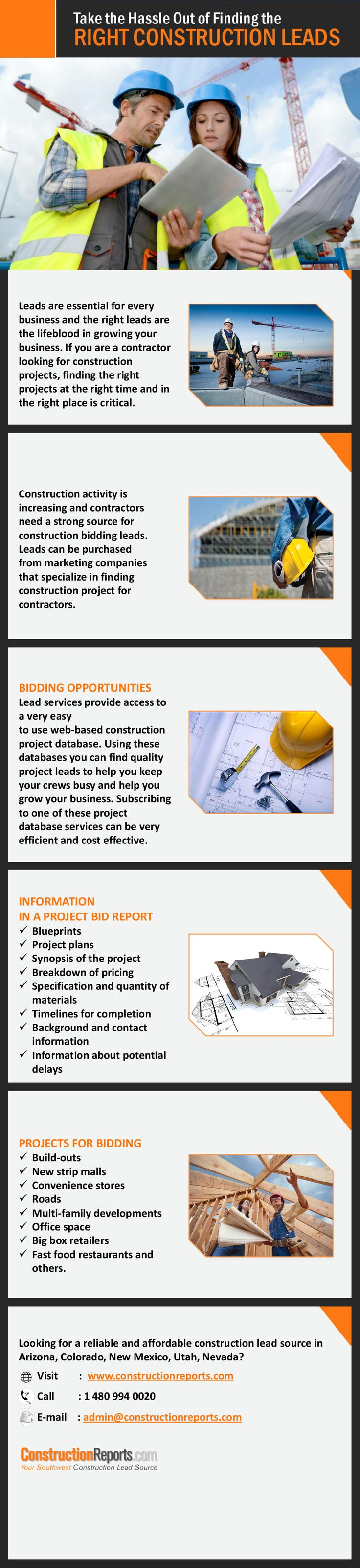 Construction Lead Source Arizona – Find Best Jobs at Best Price! - Looking for a reliable and affordable construction lead source in Arizona? Constructionreports.com helps Arizona contractors find the most bidding opportunities available in the state. Visit http://www.constructionreports.com/