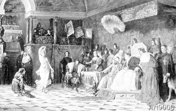 Hermann Kaulbach - Lucrezia Borgia tanzt vor ihrem Vater Papst Alexander VI.
