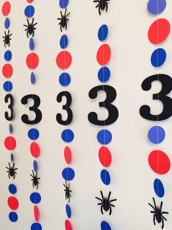 Just like the Frozen craze- Spiderman is SUPER HOT for boys this year!! so this ones for the boys!   This paper garland measures approx 3 feet