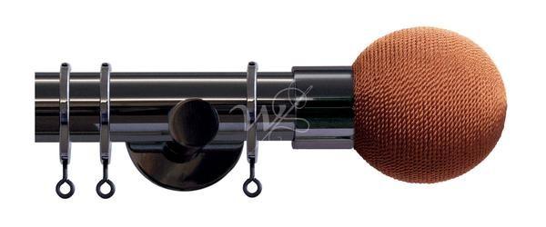 Jones Strand Black Nickel Pole Rope Ball Finial Rust (35mm)