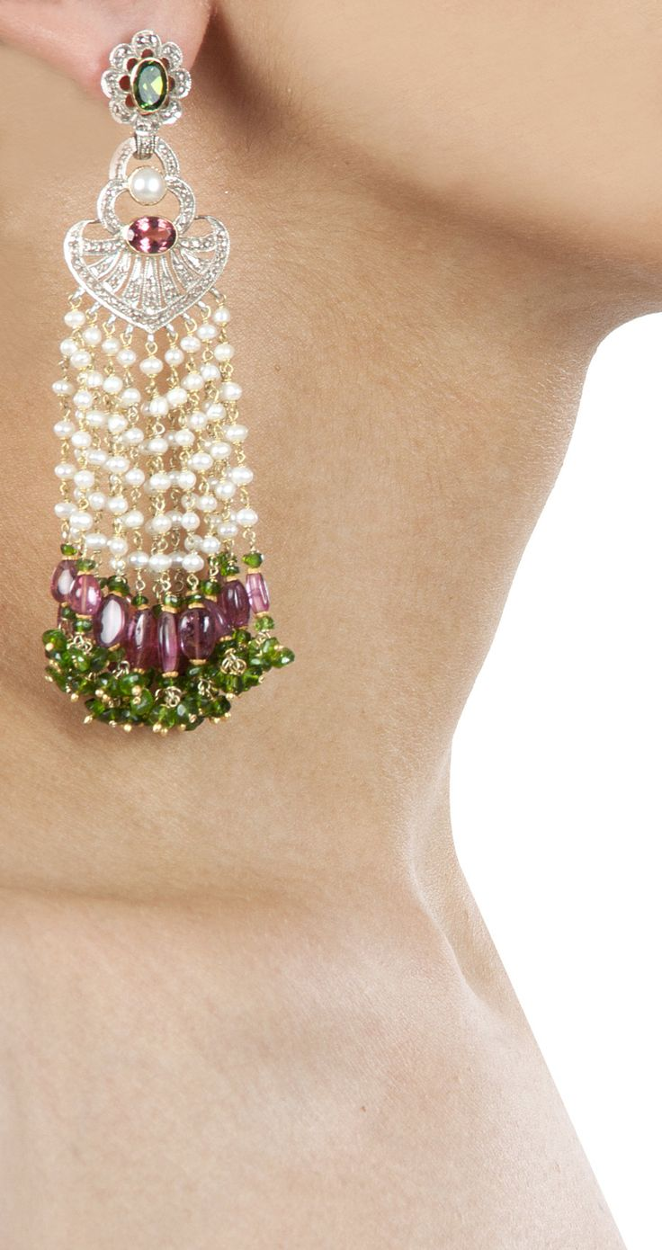 Waterfall earrings with tourmaline by Amrapali. http://www.perniaspopupshop.com/designers-1/amrapali