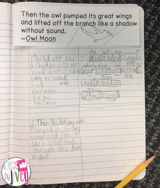 Use this mentor sentence from Owl Moon to improve students' grammar and writing skills!