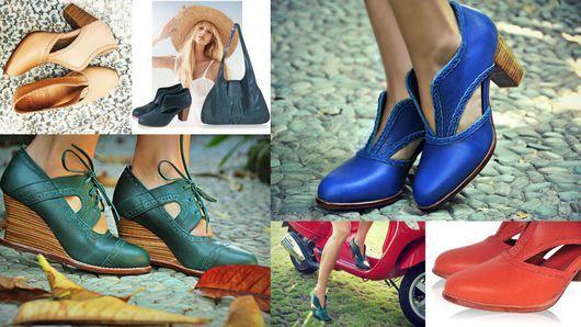 Обувь ручной работы. Spirit walker+, винтажные, стильные кожаные ботильоны. (4). BaliElf. Ярмарка Мастеров. Туфли, тёмно-зелёный