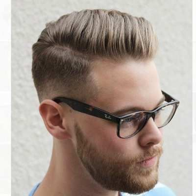 mens short blonde side part pompadour hairstyle haircut
