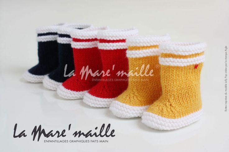 Bottes bébé marin en maille jaune inspirées des bottes Aigle®