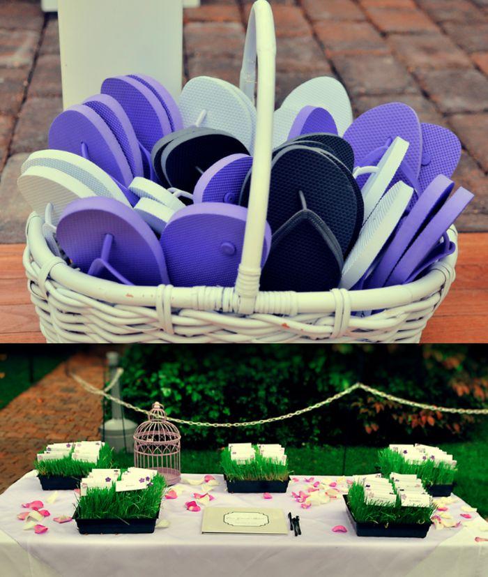 deco-mariage-champetre-deco-mariage-discount-belle-table-assièdes-bougies-blanc  Une autre idée pour la déco et de nouveau les flip-flops confortables pour changer les chaussures à talon