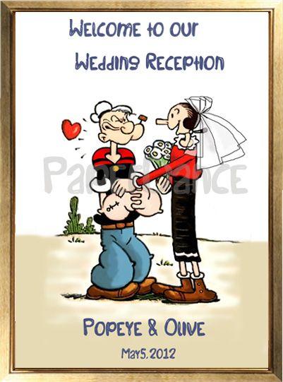 結婚式のキャラクターウェルカムボード『ポパイ&オリーブ』