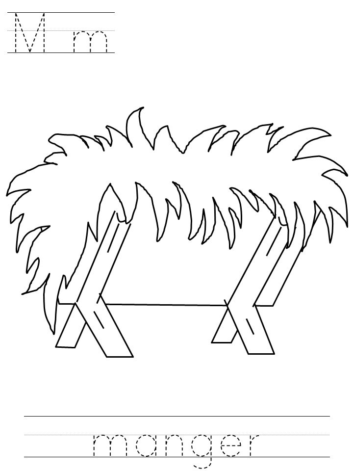 Printable Manger Coloring Page Kids Crafts Pinterest Preschool Nativity Coloring Pages