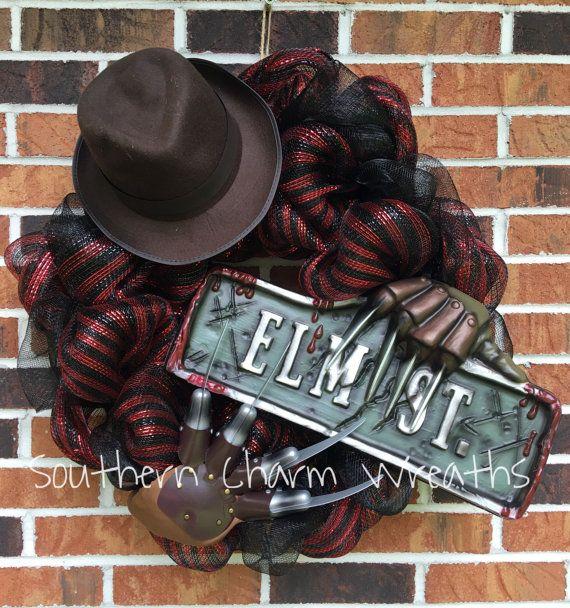 "24"" Deco Mesh Nightmare on Elm Street Freddy Halloween Wreath PLEASE READ LISTING"