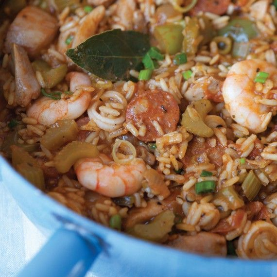 The Hairy Bikers' Southern-style Jambalaya, just under 350 calories per serving.  Very yummy!!