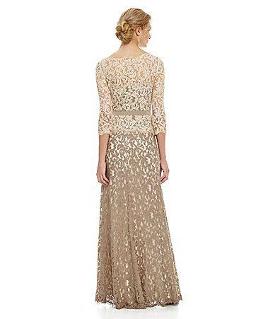 Tadashi Shoji TwoTone Lace Gown #Dillards