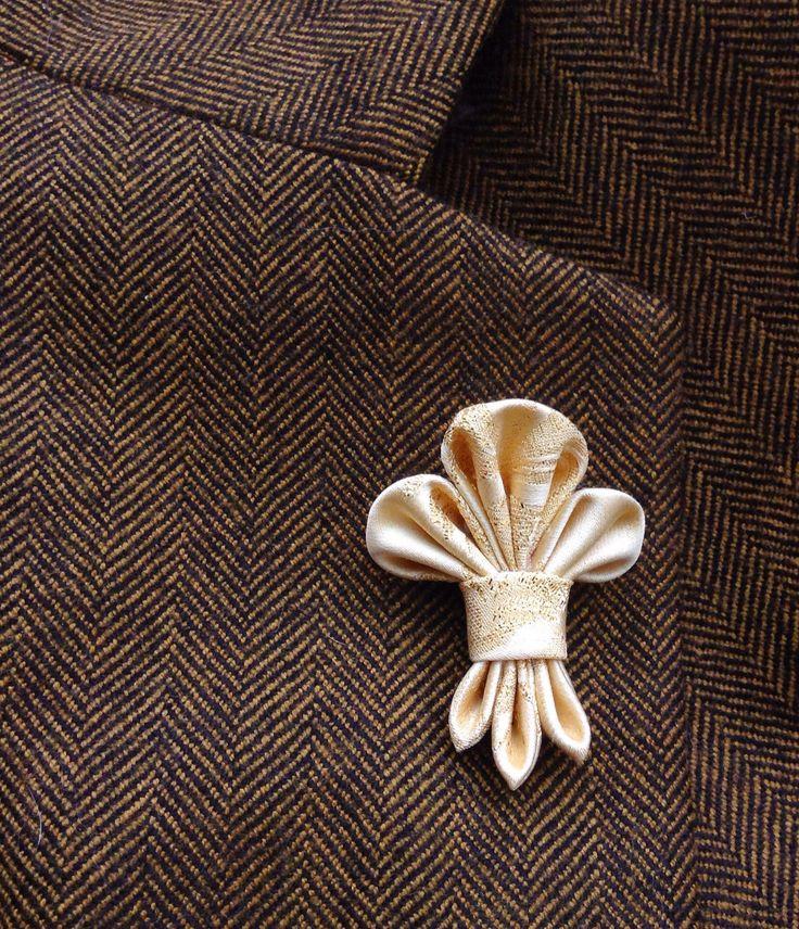 Mens Lapel Pin Flower Lapel Pin Fleur de Lis Custom Lapel Pin Silk Boutonniere Gold Lapel Kanzashi Brooch Groomsman Gift For Him Wedding by exquisitelapel on Etsy https://www.etsy.com/listing/254346096/mens-lapel-pin-flower-lapel-pin-fleur-de