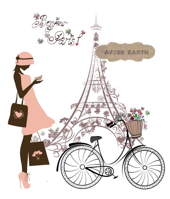 Bonjour Paris Digital poster. Printable art. by AfterEarth on Etsy