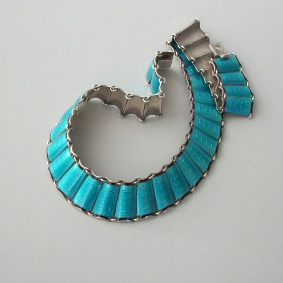 Scandinavian Enamel Sterling Necklace. Einar Modahl. 1960s. Norwegian