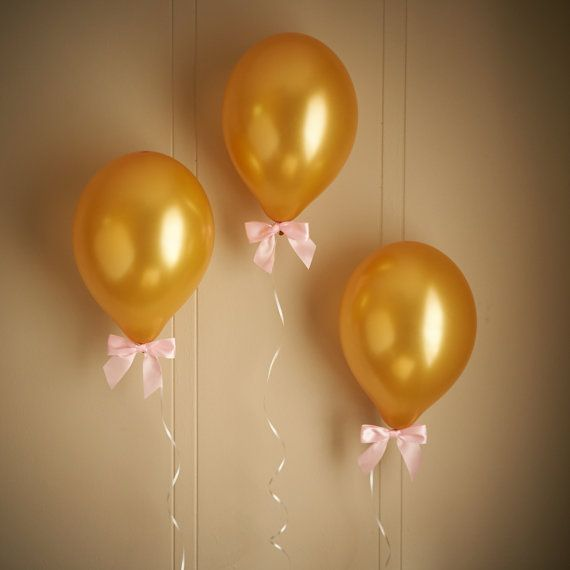 "Pink and Gold Birthday Party Decorations- Gold balloons with Pink Bows (12"") 8CT + Curling Ribbon"