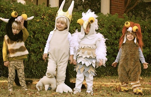 "Our little family of four is going to take a page from ""Where the Wild things Are"" and dress as Max and these ""monsters"" for Halloween. I'm making all of the costumes. Should be fun."