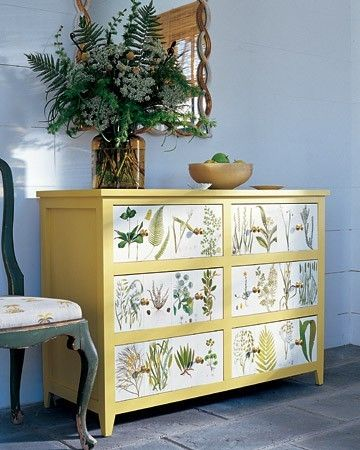This botanical decoupage will fetch at least double of what the unit + supplies cost.  Great botanical prints are always in vogue.   (Dishfunctional Designs)