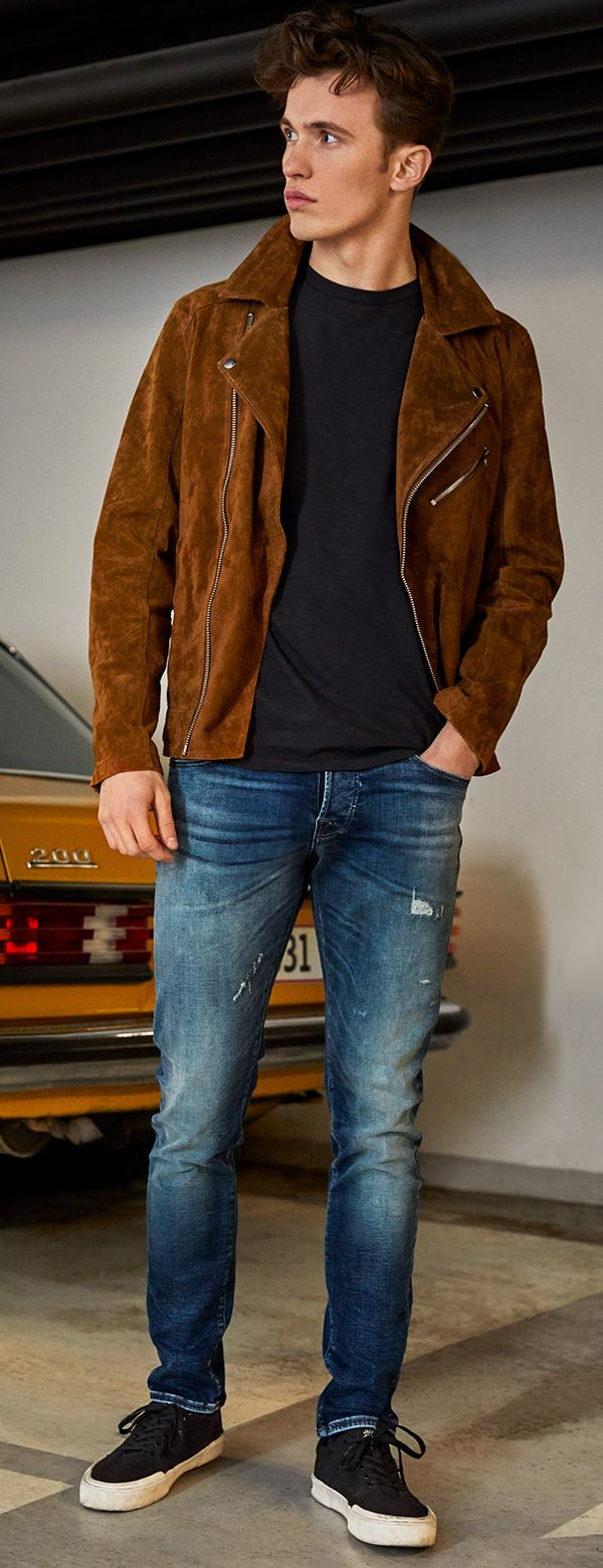 A Brown Suede Leather Jacket As A Transitional Jacket For A Casual Look Style It With Jeans And A Pair Of Mens Outerwear Jacket Functional Jackets Outerwear [ 1560 x 600 Pixel ]