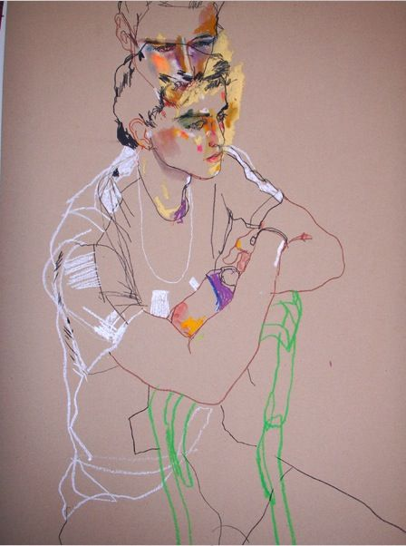 Howard Tangye one of my illustration heroes - a gorgeous mash up of line and colour - very Schiele - love it.
