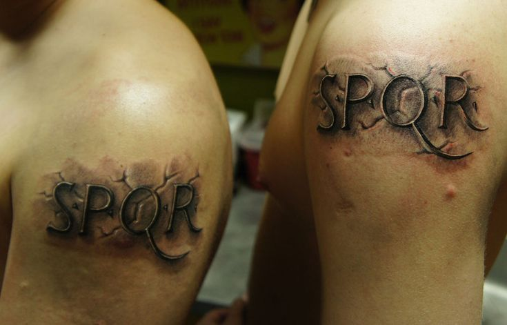 Stone lettering shoulder tattoos stone tattoo on for Stone tattoo letters
