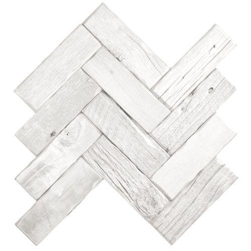 Reclaimed Wood Tile Herringbone White Wash Guest Bath