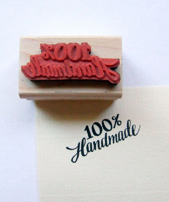 Hand Lettered Rubber Stamp One Hundred Percent