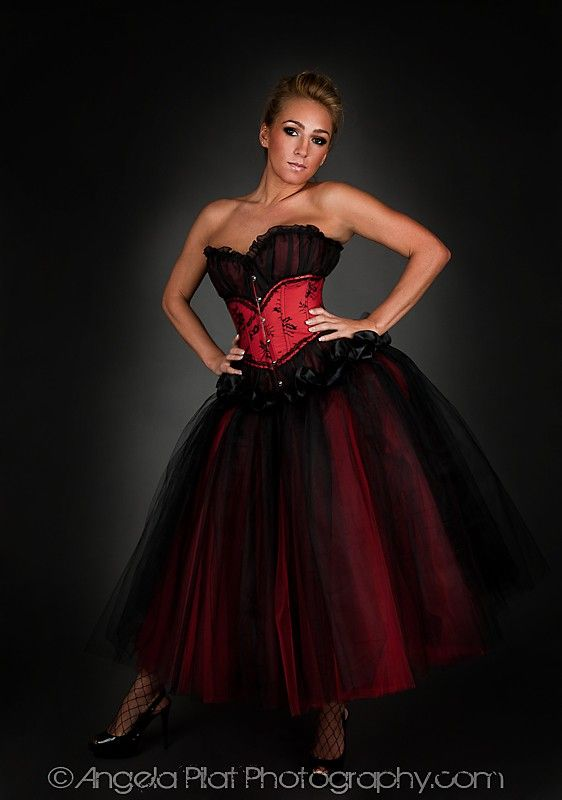 Custom Size red and black lace tea length burlesque corset Prom dress. $285.00, via Etsy.
