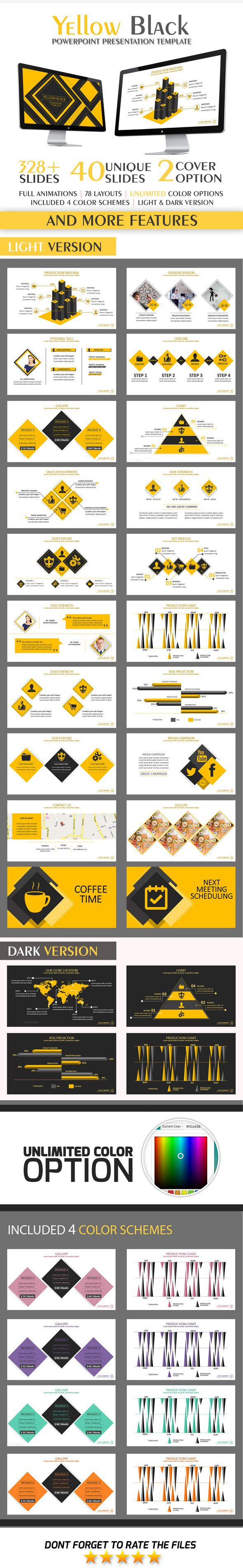 Yellow Black PowerPoint Template #design #slides Download: http://graphicriver.net/item/yellow-black-powerpoint-template/11561340?ref=ksioks