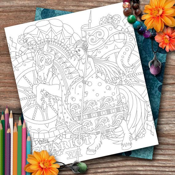 Cancer Tarot The Chariot Colouring Page by OpulentOwlArtistry