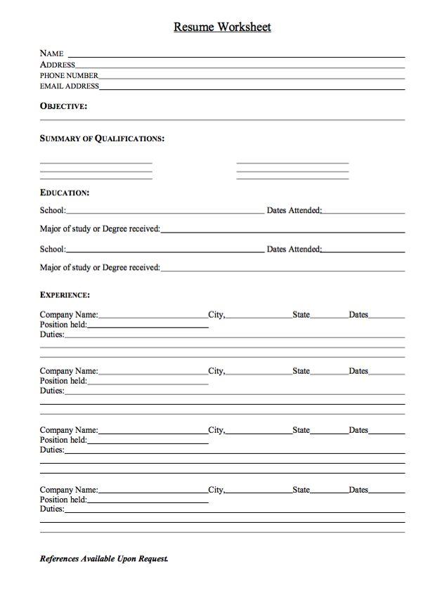 Sample Resume Worksheet - http://exampleresumecv.org/sample-resume-worksheet/