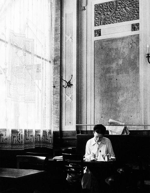 1944. Simone de Beauvoir, photographed by Robert Doisneau