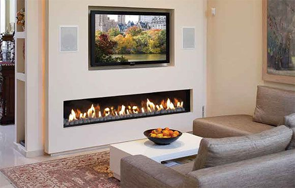 Contemporary electric fireplace designs with TV above for small living room
