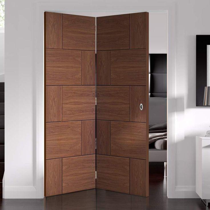 Thrufold Ravenna Walnut Flush 2+0 Folding Door - Prefinished - Lifestyle Image. #walnutdoors #flushdoors #flushwalnutdoors