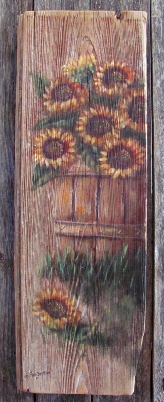 Rustic Basket of Sunflowers Sign by HeritageWorkshopCo on Etsy