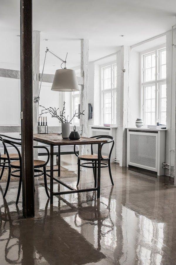 minimal dining area with vintage vibe