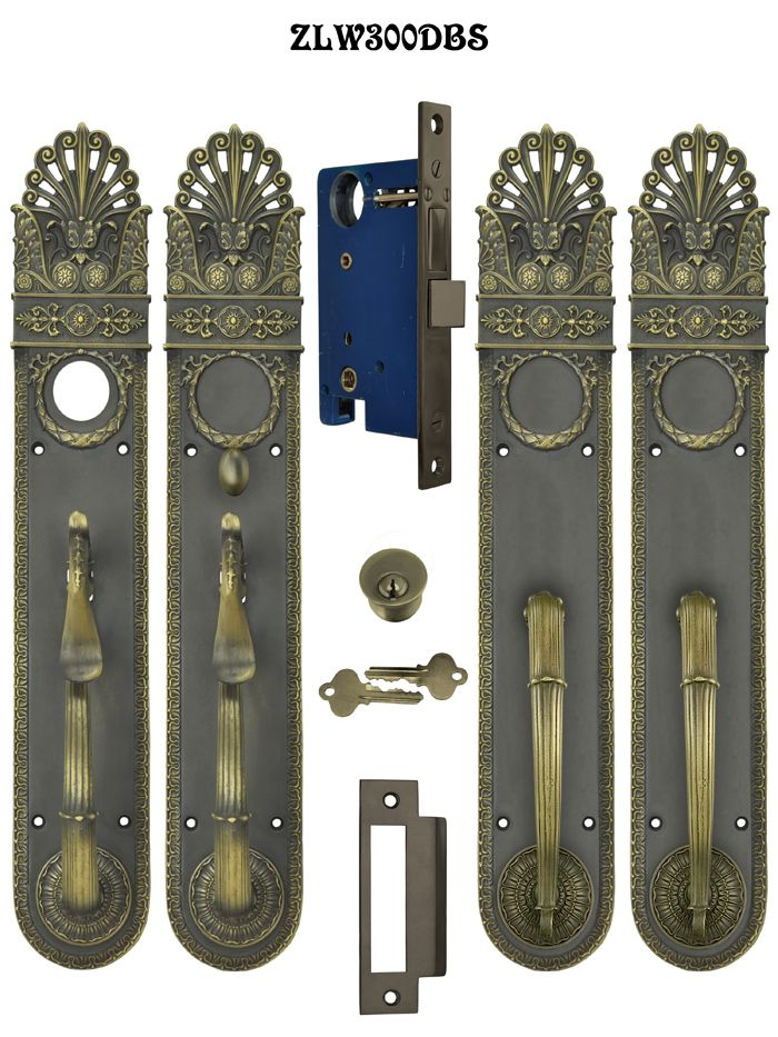 Art Nouveau Pierced Entry Double Or French Door Set Locking