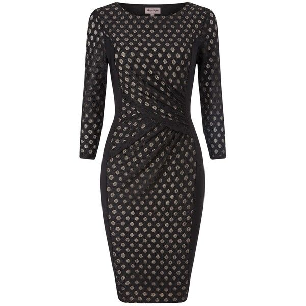 Phase Eight Spot Mesh Dress, Black (€64) ❤ liked on Polyvore featuring dresses, 3/4 sleeve dress, black mini dress, black cocktail dresses, black midi dress and long sleeve maxi dress