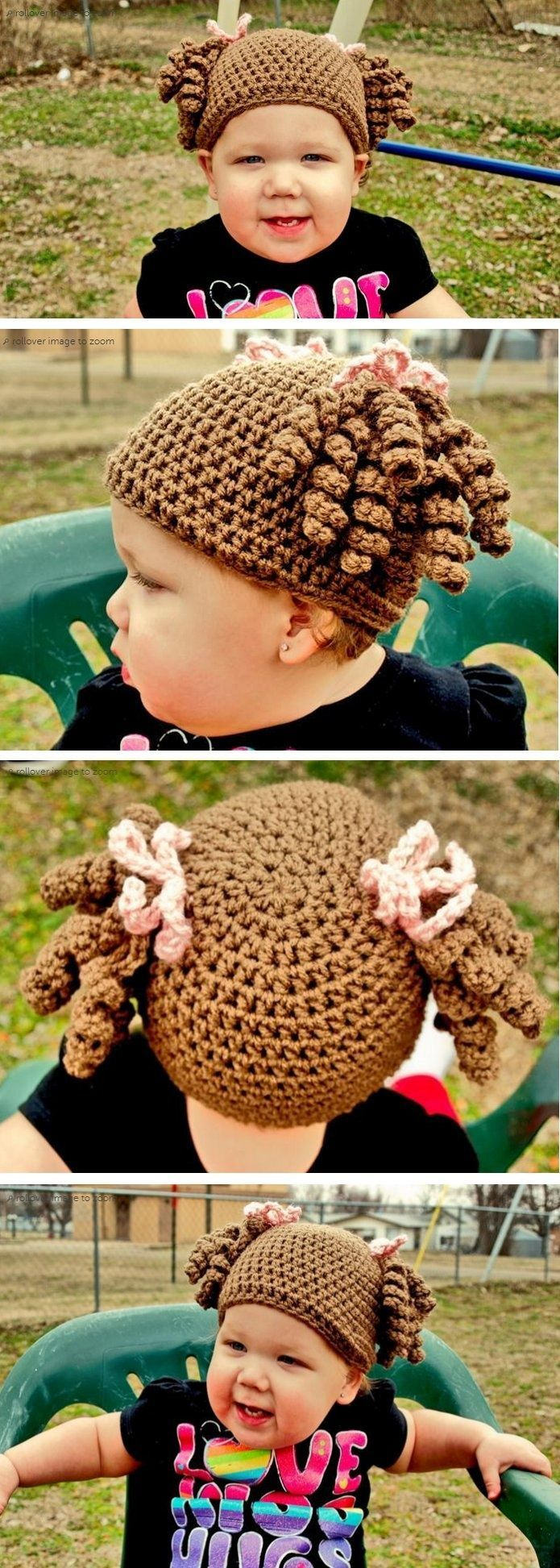 Little Miss Curly Q hat - Just make a basic beanie and add some curls and bows, reminds me of a Cabbage Patch Kid *Inspiration*.