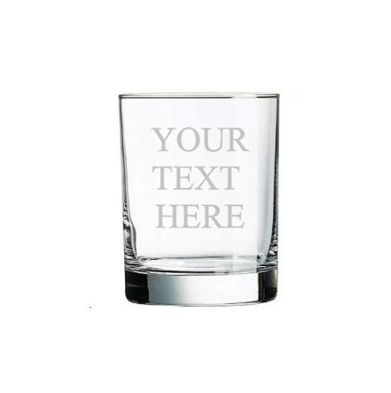 Rocks glass, Whiskey Glass, Liquor Glass, 14 oz, ETCHED, use your own words! Your Text Here, Choose your font, Engraved, Personalized, dad