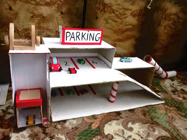 garaż kartonowy hand made homemade parking garage