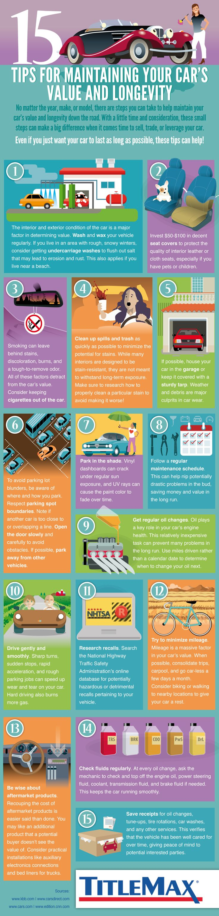 15 Tips for Maintaining your Car's Value and Longevity #Infographic #Cars #Transportation