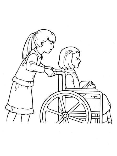 A line drawing of a Primary girl pushing another girl in a ...