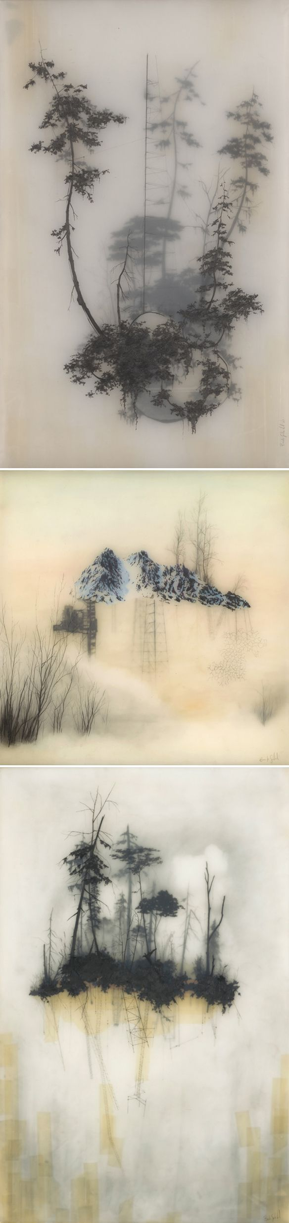 Encaustic paintings- wax and charcoal. Just stunning!