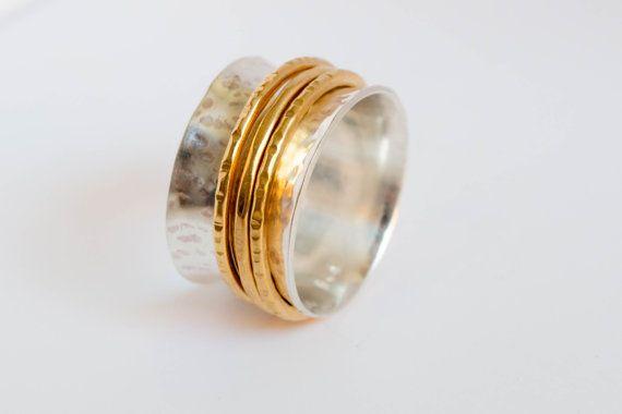 Bague Spinner anneau martelé spinner martelé bague par SILVERstro