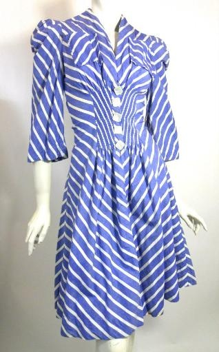 1930s chevron dress with button detail by F.O.G.A., DCV