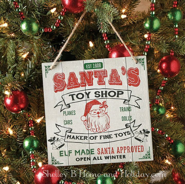 santas toy shop christmas ornament sign raz the tree lot - Christmas Tree Shop Online