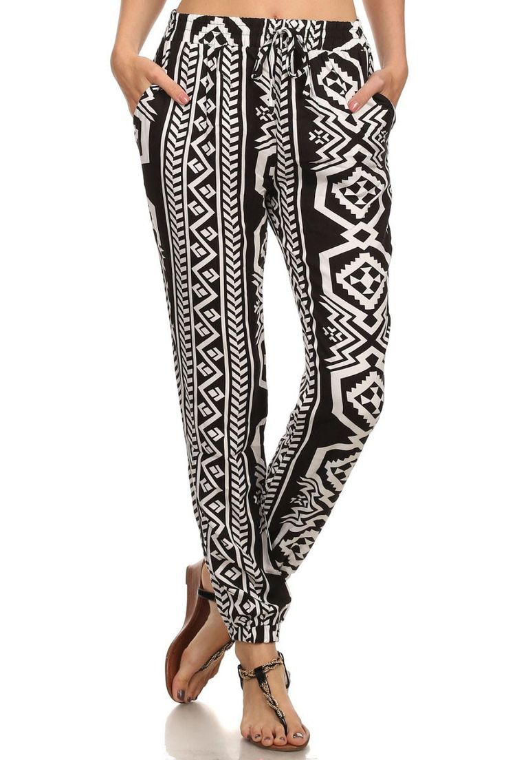 Multi-Patterned Harlem Pants, Black/White