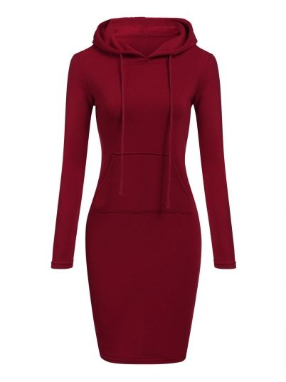 Red Slim Pencil Hoodie Dress