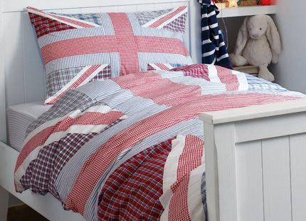 Harry Blue and Red Union Jack Cotton Duvet Set This cool and funky appliqued Union jack design duvet set is made up of check and gingham prints in blue and red. Includes single duvet cover and one pillowcase. 100% cotton.