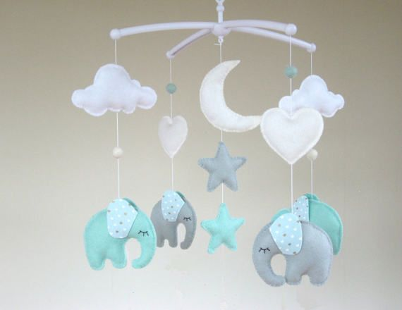 Elephant Baby Mobile Musical Elephant Baby Mobile by ClooneyCrafts